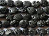 Black Polished Lava Rock Irregular Oval Tabular Beads 13-16mm (LAV58)