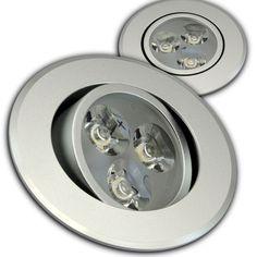 LED Einbaustrahler Aluminium Glasfront rund 3x2Watt