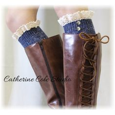 Nordic Woods in Vintage Blues Tweed Knit Boot Socks Tall Boot Socks... ($22) ❤ liked on Polyvore featuring intimates, hosiery, socks, boot socks & cuffs, grey, women's clothing, holiday knee high socks, holiday socks, vintage socks and gray socks