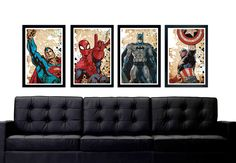 "Superhero poster set, Superman, Batman, Captain America, Spiderman, minimalistic poster series, 11""x17"" by PrintMadness on Etsy https://www.etsy.com/listing/238578880/superhero-poster-set-superman-batman"