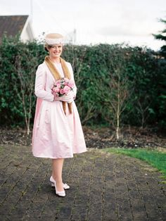 Pale pink short wedding dress with vintage styling  http://onefabday.com/waterford-castle-wedding-by-lisa-odwyer/