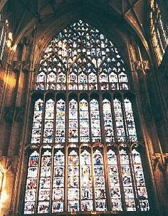 York Minster has many elaborately   decorated stained glass windows.