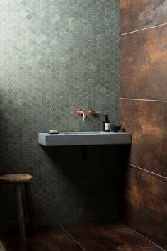 Our Verdi Capri Honed Marble Hexagon Mosaic Tile is available in various formats. Home Design Decor, Bathroom Interior Design, Home Interior, Bohemian Interior, Interior Paint, Bathroom Toilets, Small Bathroom, Bathroom Fixtures, Concrete Basin