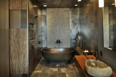 reminds me of Bali .... soft, natural and peaceful asian bathroom by Amelie de Gaulle Interiors