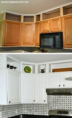 Kitchen Projects Kitchen before and after utilizing the space above cabinets and painting them.Kitchen before and after utilizing the space above cabinets and painting them. Above Cabinets, Home Kitchens, Kitchen Upgrades, New Kitchen Cabinets, Kitchen Design, Kitchen Renovation, Above Kitchen Cabinets, Kitchen Projects, Kitchen Diy Makeover