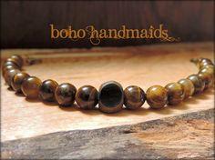 Men's Pope Francis Bracelet, Tiger Eye Beads, Catholic Jewelry, Bronze, Earth Tones, Wooden, CHOOSE your SAINT MEDAL, Religious Gift for Men