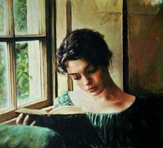 """Woman Reading by the Window"" by Jacquelyn Bischak, born 1961 in Ann Arbor…"