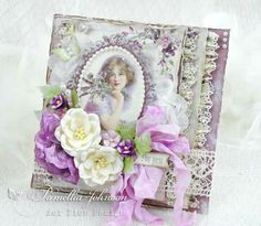 My Little Craft Things: Pion Design - Bouquet For You Vintage Cards, Vintage Paper, Friend Scrapbook, Purple Cards, Shabby Chic Cards, Beautiful Handmade Cards, Mothers Day Cards, Pretty Cards, Card Tags