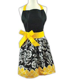 Love this Black & Yellow Floral Riviera Apron - Women by Design Imports on #zulily! #zulilyfinds
