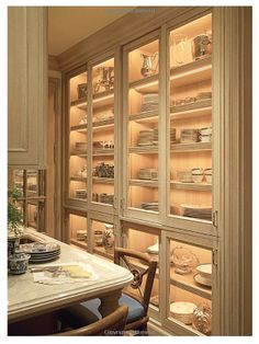 glass front cabinets with interior lights for china / silver storage & display
