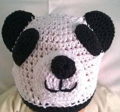 Guarda questo articolo nel mio negozio Etsy https://www.etsy.com/it/listing/531149911/cappello-panda-lavorato-ad-uncinetto-100