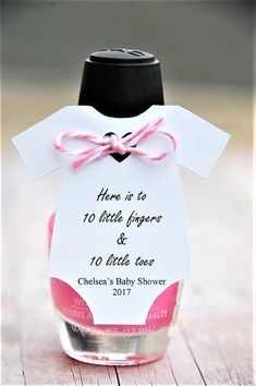 Here is to 10 little fingers & 10 little toes ~ Mani Gift ~ Nail Polish Baby Shower Party Favor ~ Personalized Tag ~ Baby Shower Onesie Thank You Gift Tags ~www.KendollMade.com #babyshowergifts