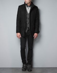 Great Outfit w/ 3/4 LENGTH COAT WITH KNITTED COLLAR - Coats - Man - ZARA United States