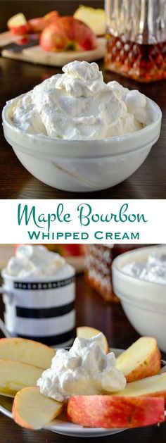 Maple bourbon whipped cream is lightly sweetened with a hint vanilla and oak. A tasty compliment to all of your favorite fall desserts.