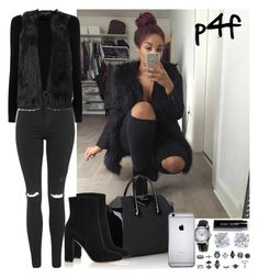 """Passion 4Fashion: Fur.Vest.Rip.Knees.Boots."" by shygurl1 ❤ liked on Polyvore featuring Oasis, Topshop, Givenchy, Burberry, Gianvito Rossi, Bobbi Brown Cosmetics and Tiffany & Co."