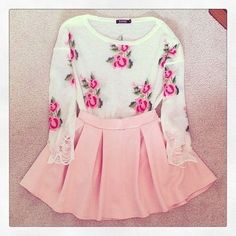 floral top and pink skirt
