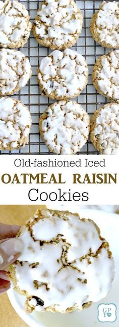 Grandma's Iced Oatmeal Raisin Cookies Chewy iced oatmeal raisin cookies. Easy recipe for old-fashioned frosted treats to bake for and with kids. Biscuits Aux Raisins, Cookies Et Biscuits, Weight Watcher Desserts, Raisin Recipes, Oatmeal Recipes, Köstliche Desserts, Dessert Recipes, Recipes Dinner, Baking Recipes
