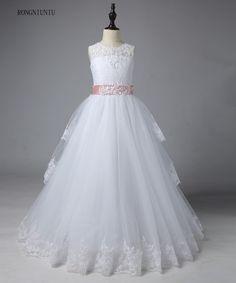 Ivory White Lace Flower Girls Dresses 2017 Ball Gown Belt Floor Length Girls First Communion Dress Princess Dress