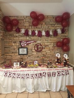 graduation party décor dessert table texas a m www