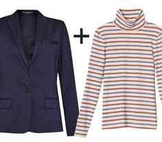 10 Genius Layering Combos to Wear During Awkward Spring Weather  - Blazer + Turtleneck Knit  - from InStyle.com