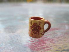 Dollhouse Miniatures ~ Jane Graber Red Ware Sgraffito Mug w/ Flower Design ~ | eBay