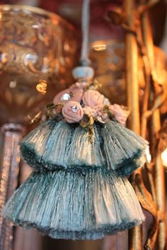 """Yesterday during the largest snow fall of the year, I spent the day """"crafting""""- something that I love to do, but rarely had time to do while. Love Vintage, Passementerie, Antique Lace, Fringe Trim, Beauty Art, Fabric Decor, Pink Purple, Embellishments, Tassels"""