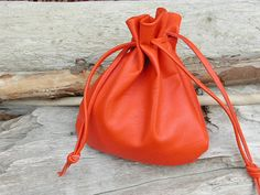 here you'll get the very best...Orange Leather Drawstring Pouch Bag  Large by Shirlbcreationstoo, $40.00