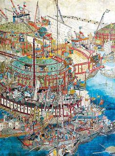 Painting of geobukseon turtle ship and panokseon