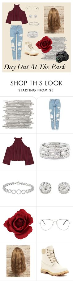 """Day out at the park"" by destineyyclark00 ❤ liked on Polyvore featuring Topshop, W118 by Walter Baker, Sole Society, Accessorize, Nikon and Timberland"