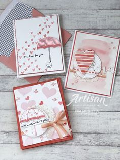 Heart Happiness and Weather Together cards Valentine's Day is just around the corner! This holiday m Wedding Shower Cards, Wedding Cards, Card Making Inspiration, Making Ideas, Umbrella Cards, Valentine Love Cards, Get Well Cards, Heart Cards, Creative Cards