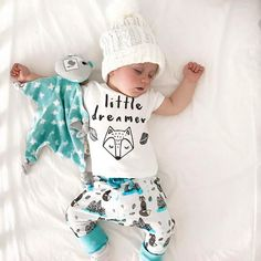 "Baby Boys "" Little Dreamer "" Set Perfect baby shirt and pants set for the little fox in your life! Be sure to visit us at www.destination-baby.com for all things baby, child and mom! Free Shipping! #babyclothes #babyboy"