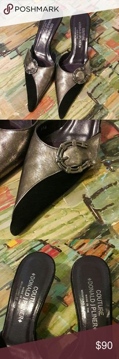 DONALD PLINER SHOES Absolutely fabulous pair of DONALD PLINER COUTURE   heels...worn like 2 times....still in excellent condition....only wear is on bottom and minimal. Great metallic and black suede ....just an amazing pair of shoes!!! Donald J. Pliner Shoes Heels