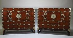 RARE Pair of Antique 19th Century Korean Carved Wood Paktong Metal Chests | eBay