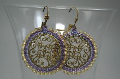Purple Lavender Dew Drops MANDALA embroidered Filigree Lace beaded hoop earrings Yoga Inspired Purple Peace Harmony. $28.99, via Etsy.