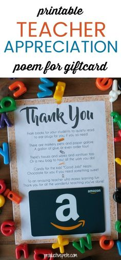 "An easy way to say ""Thank You"" to your child's teacher during Teacher Appreciation Week, at the End of the School Year, during the Holidays or simply to brighten their day! gifts end of year Printable Teacher Appreciation Poem for Giftcard Apreciação Do Professor, Teacher Appreciation Poems, Employee Appreciation, National Teacher Appreciation Day, Principal Appreciation, Just In Case, Just For You, Dr Seuss, Little Presents"