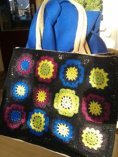 AH tas met gehaakte Japanse bloemen