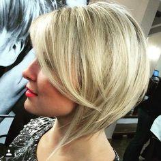 angled blonde bob