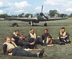 Pilots of No.32 Squadron RAF at Biggin Hill waiting for their next sortie... July 29, 1940. Nice colorization but I can't see any credit.