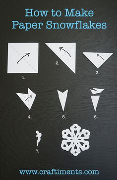 How to Make a Six Sided Paper Snowflake by Craftiments - Make them out of wax paper and hang them in your windows. Hint: Glue them to the windows with washable glue stick, it washes off easily with a little soapy water.:
