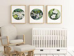 Set Of 3 Watercolor Flower Art Print Home Decor Minimalist