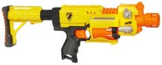 "Nerf N-Strike Barricade RV-10 (with bonus stock attachment) by Nerf. $49.93. Blaster comes with 10 Whistler darts and instructions. Requires 3 ""AA"" batteries (not included).. Special Value Pack comes with bonus stock attachment.. The compact design of this sidearm blaster means it's easy to take along on any mission.. Motorized semi-auto blaster features a 10 dart revolving barrel for action-packed blasting excitement.. Quick and reliable, your revolving barrel blaster is..."