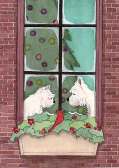 Westies (west highland terriers) looking for Christmas / Lynch signed folk art print via Etsy.