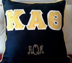 Monogrammed lettered pillow.