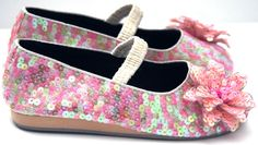 Coastal Projections Girls Toddlers Tweens Yellow Pink Peach Pastel Sparkling Sequins with Flower Ballet Flat Shoes