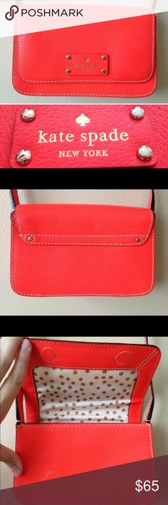 "Kate Spade Bright Orange Mini Crossbody Purse Reposhing, color is a little too bright for me  Preowned, in great condition. This bag is a vivid bright orange/neon coral. This is the ""Wellesley Fynn"" bag.