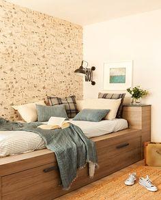 Habitaci n infantil con dos camas en l nea y zona de - Decoracion habitacion individual ...