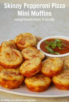 pepperoni pizza mini muffins. Easy. Healthy. Tasty. Perfect appetizer or snack for Game Day. Just 29 calories, 1SP per mini muffin http://simple-nourished-living.com/2015/01/skinny-pepperoni-pizza-mini-muffins-recipe/ #weightwatchers #smartpoints