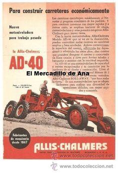 PUBLICIDAD AD-40 ALLIS CHALMERS MOTOR  ANUNCIO DE MÁQUINAS CARTEL PEQUEÑO