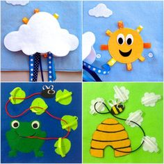 quiet book pages for babies | Children's Quiet Book Busy Book 14 Pages by QuietTimeDesigns