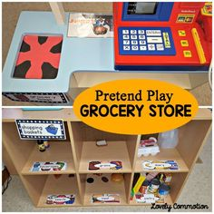 Make creating a grocery store in your dramatic play center easy! Dramatic Play Area, Dramatic Play Centers, Preschool Dramatic Play, Preschool Centers, Preschool Activities, Preschool Classroom, Preschool Food, Activity Centers, Pretend Grocery Store